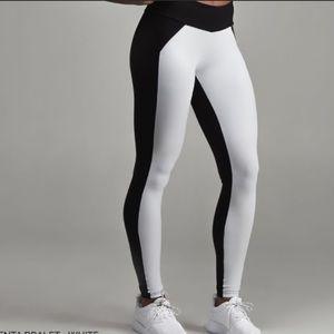 Cleo Harper Jet Black White Leggings Tights XXS